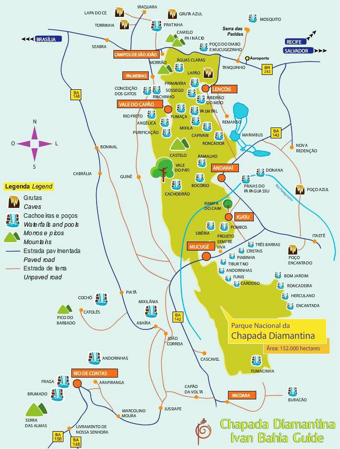 Map of Chapada Diamantina National Park's main attractions available for hiking or trekking - Ivan Bahia Tour Guide & Travel Agency in Salvador, Brazil / Reis-gids, reis agentschap in Salvador da Bahia / #IvanBahiaGuide,#SalvadorBahiaBrazil,#Bresil,#BresilEssentiel,#BrazilEssential,#ChapadaDiamantina,#Brazilie,#ToursByLocals,#GayTravelBrazil,#IBG,#FotosBahia,#BahiaTourism,#SalvadorBahiaTravel,#FotosChapadaDiamantina,#fernandobingretourguide,#BrazilTravel,#ChapadaDiamantinaGuide,#ChapadaDiamantinaTrekking,#Chapadaadventure,#BahiaMetisse,#BahiaGuide,#diamantinamountains,#DiamondMountains,#ValedoPati,#PatyValley,#ValeCapao,#Bahia,#Lençois,#MorroPaiInacio