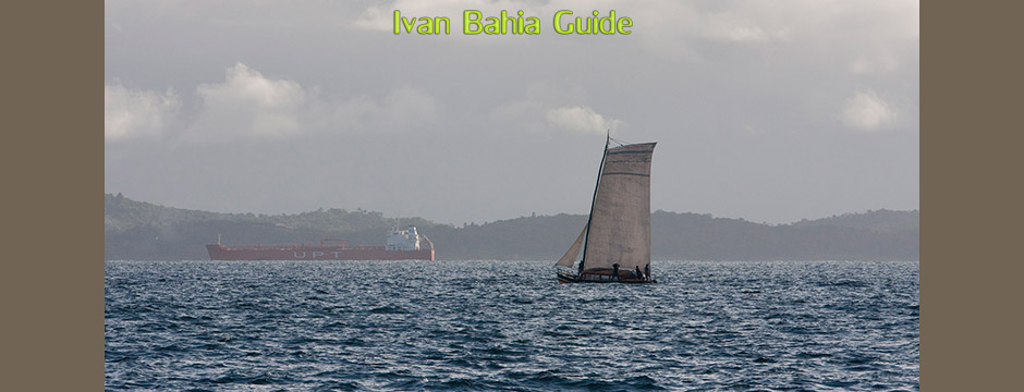 Traditional Saveiro sailship observed from Ribeira-Salvador - with Ivan's Salvador da Bahia & Chapada Diamantiana national park's official tour guide