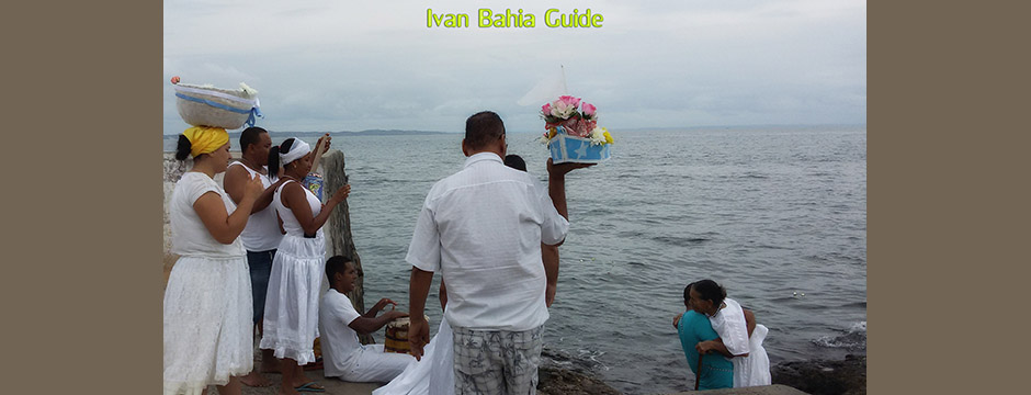 Candomblé religion, offering to the Goddess Yemanja at ponta da Humaita in Ribeira-Salvador - with Ivan's Salvador da Bahia & Chapada Diamantiana national park's official tour guide