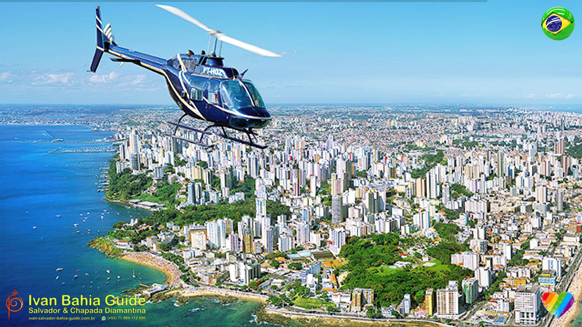 Panoramic Helicopter flights above Salvador da Bahia & Helicopter transfers to Morro de São Paulo and Boipeba islands, or Chapada Diamantina National Park, organized Ivan Bahia Guide Chapada Diamantina Brazil